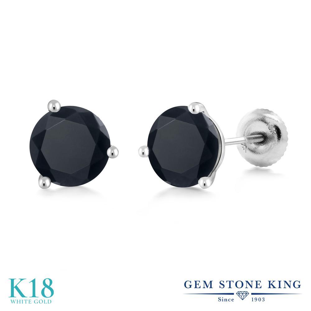 Gem Stone King ジルコニア (ブラック) 18金 ホワイトゴールド(K18) ピアス レディース CZ 大粒 シンプル スタッド スクリュー 金属アレルギー対応 誕生日プレゼント