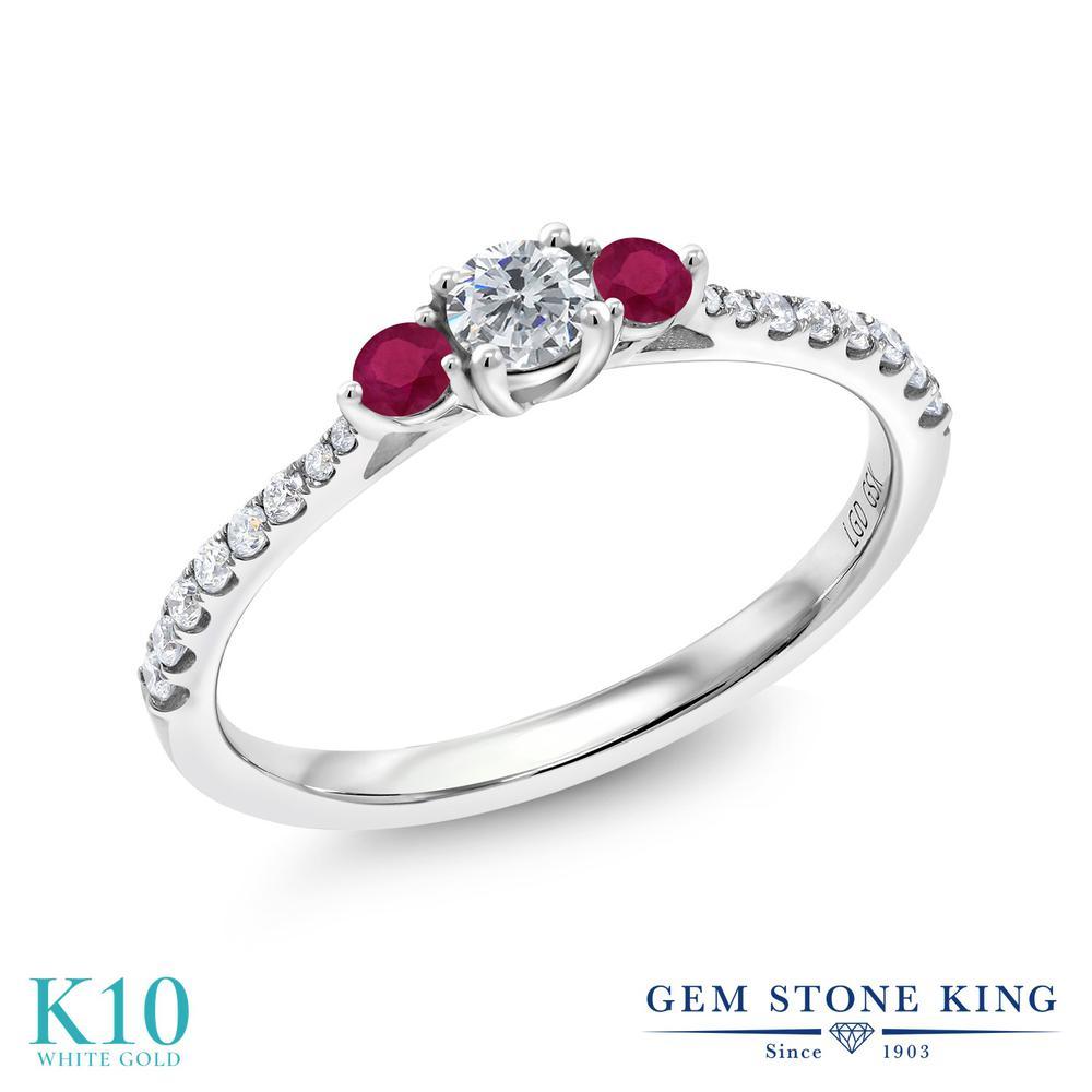 0.45カラット 合成ダイヤモンド 指輪 レディース リング 天然 ルビー 10金 ホワイトゴールド K10 ブランド おしゃれ ダイヤ 小粒 細身 小ぶり 小さめ 婚約指輪 エンゲージリング