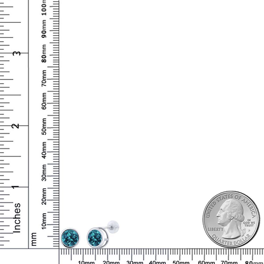 2 66カラット 天然 ロンドンブルートパーズ ピアス レディース 14金 ホワイトゴールド K14 ブランド おしゃれ 一粒 ベゼル 大粒 シンプル スタッド 天然石 11月 誕生石 金属アレルギー対応543AjRLq