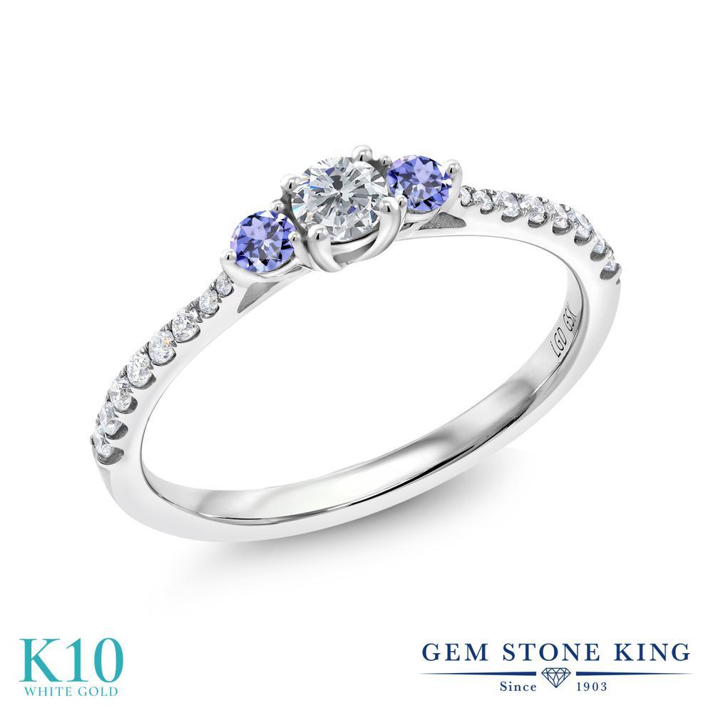 0.37カラット 合成ダイヤモンド 指輪 レディース リング 天然石 タンザナイト 10金 ホワイトゴールド K10 ブランド おしゃれ ダイヤ 小粒 細身 小ぶり 小さめ 婚約指輪 エンゲージリング