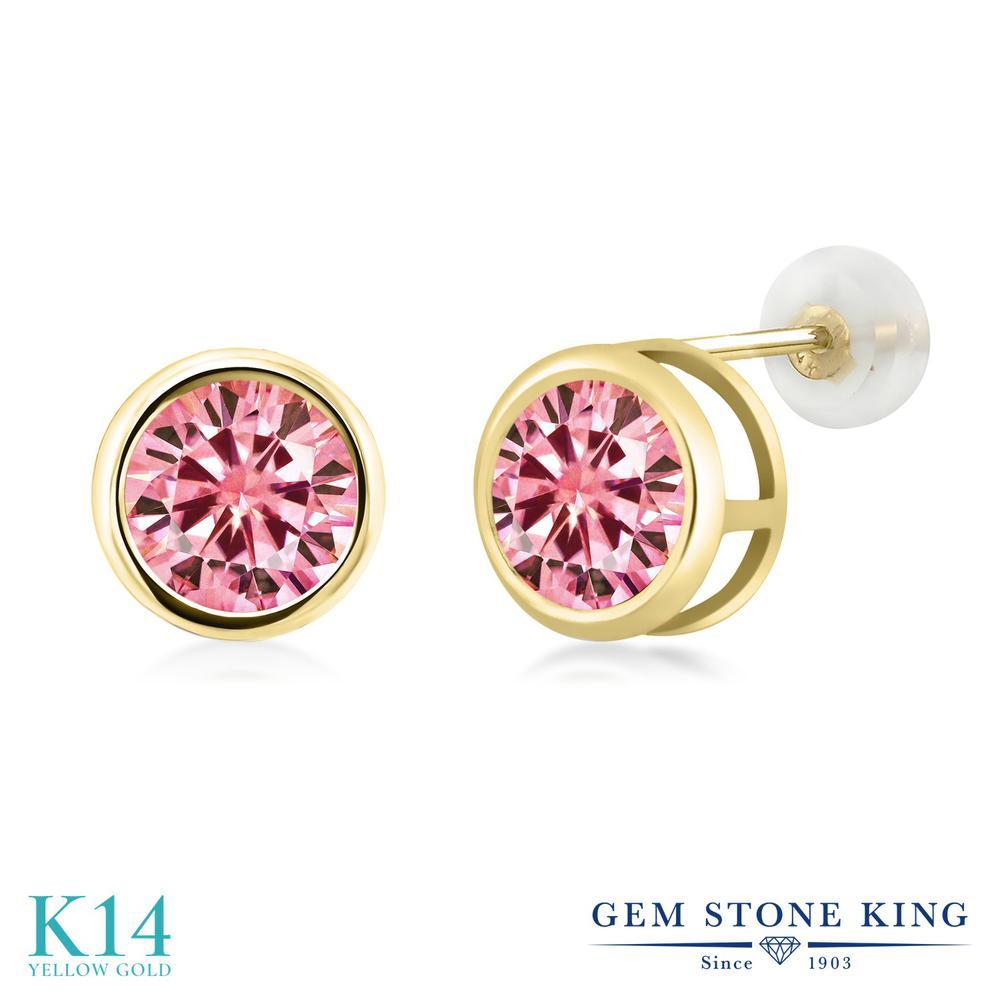Gem Stone King 2カラット ピンク モアサナイト Charles & Colvard 14金 イエローゴールド(K14) ピアス レディース モアッサナイト 大粒 シンプル スタッド 金属アレルギー対応 誕生日プレゼント
