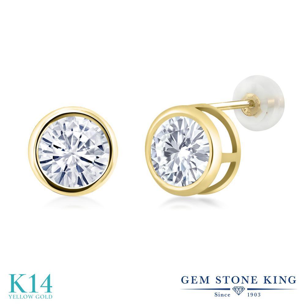 Gem Stone King 2カラット Forever Classic モアサナイト Charles & Colvard 14金 イエローゴールド(K14) ピアス レディース モアッサナイト 大粒 シンプル スタッド 金属アレルギー対応 誕生日プレゼント