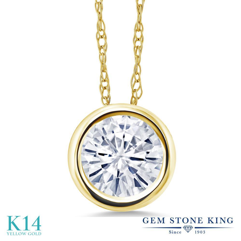 Gem Stone King 1カラット Forever Classic モアサナイト Charles & Colvard 14金 イエローゴールド(K14) ネックレス ペンダント レディース モアッサナイト 大粒 一粒 シンプル 金属アレルギー対応 誕生日プレゼント
