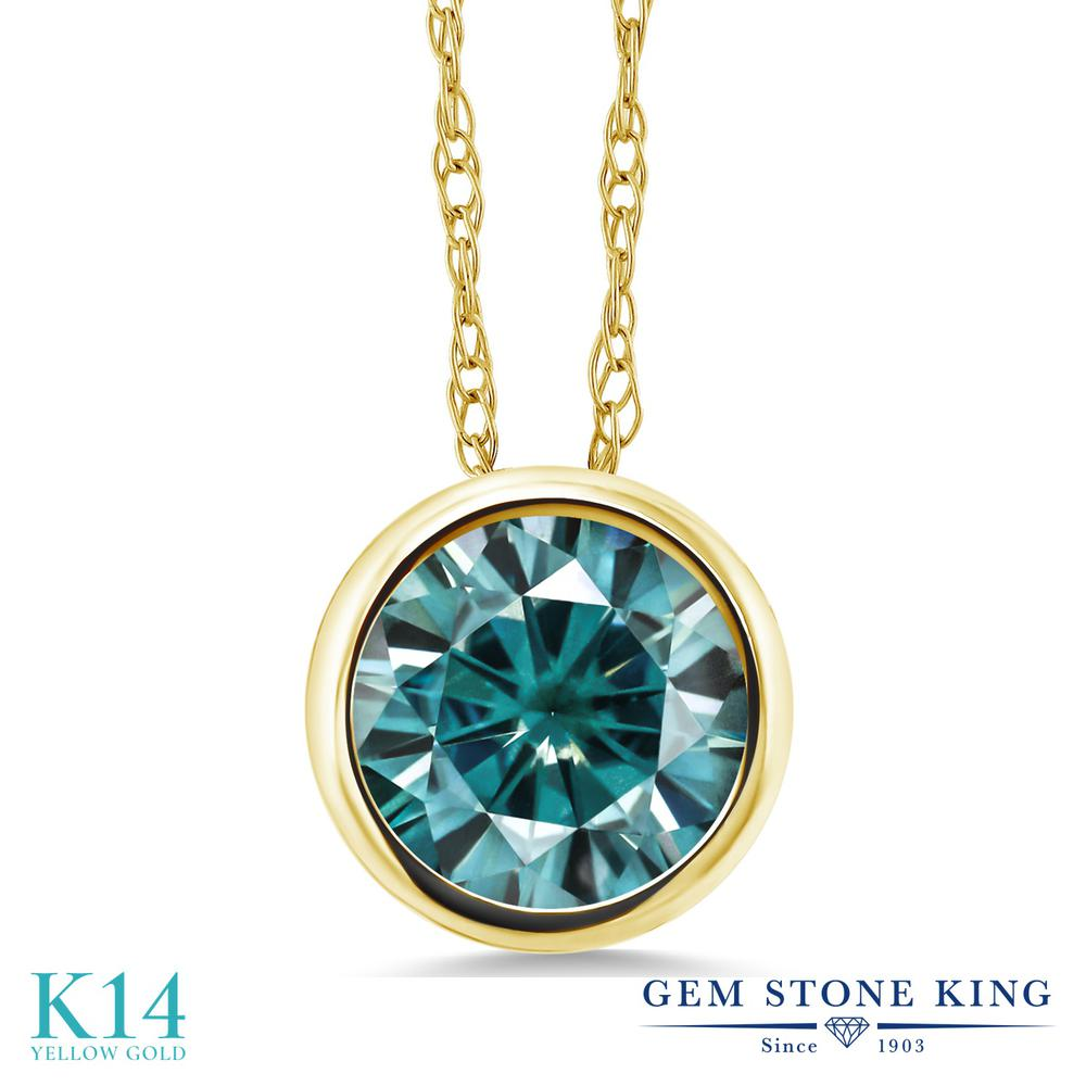 Gem Stone King 1カラット ブルー モアサナイト Charles & Colvard 14金 イエローゴールド(K14) ネックレス ペンダント レディース モアッサナイト 大粒 一粒 シンプル 金属アレルギー対応 誕生日プレゼント