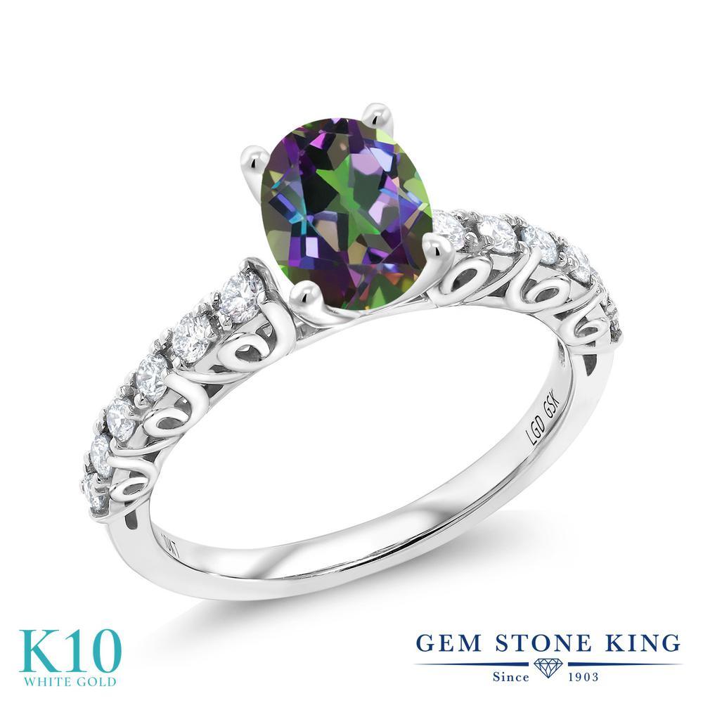 Gem Stone King 1.88カラット 天然石 ミスティックトパーズ(グリーン) 10金 ホワイトゴールド(K10) 指輪 リング レディース 大粒 マルチストーン 天然石 金属アレルギー対応 誕生日プレゼント