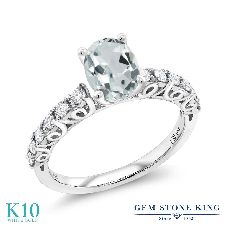 【クーポンで10%OFF】 Gem Stone King 1.43カラット 天然 アクアマリン 合成ダイヤモンド 10金 ホワイトゴールド(K10) 指輪 リング レディース 大粒 マルチストーン 天然石 3月 誕生石 金属アレルギー対応 誕生日プレゼント