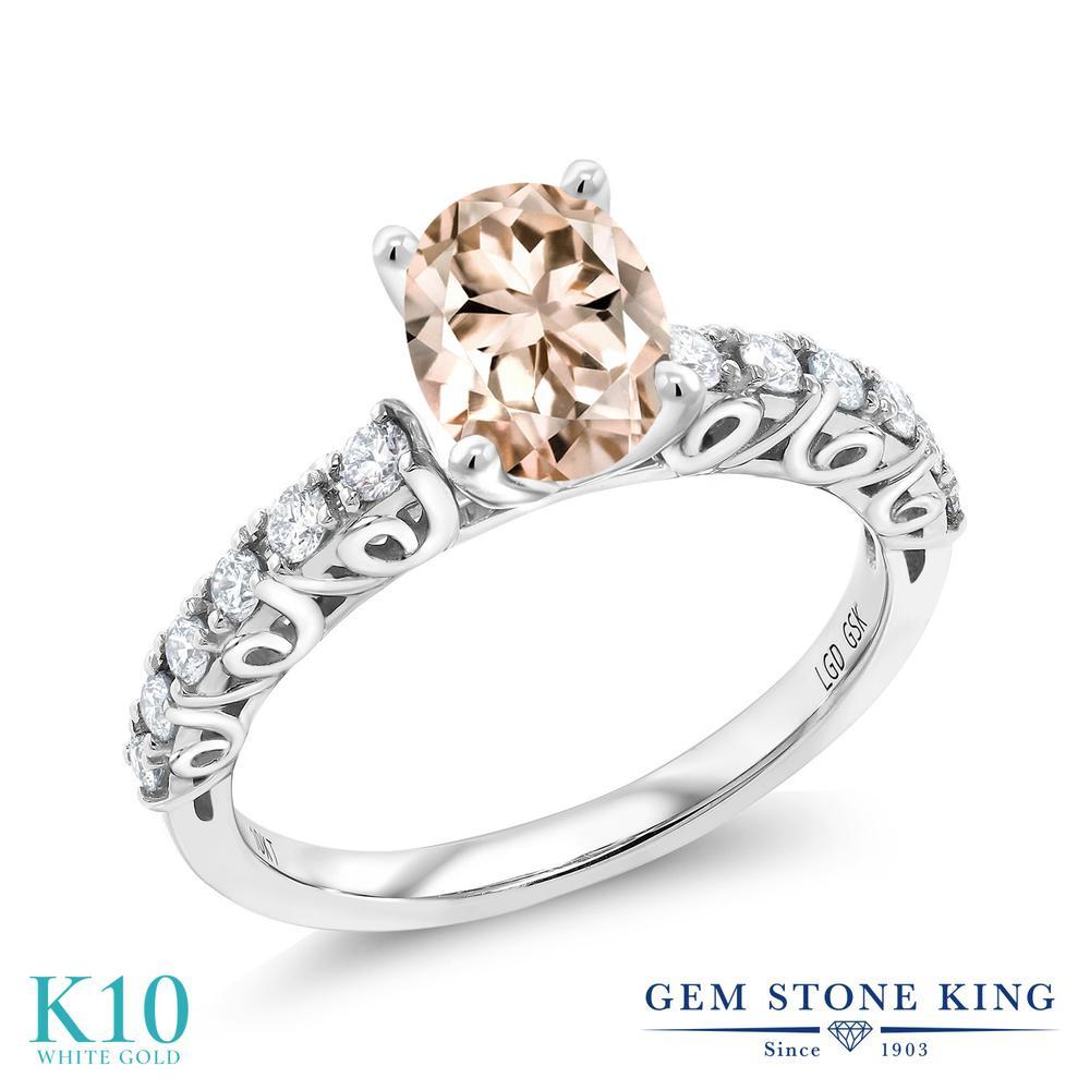 【クーポンで10%OFF】 Gem Stone King 1.3カラット 天然 モルガナイト (ピーチ) 合成ダイヤモンド 10金 ホワイトゴールド(K10) 指輪 リング レディース 大粒 マルチストーン 天然石 3月 誕生石 金属アレルギー対応 誕生日プレゼント
