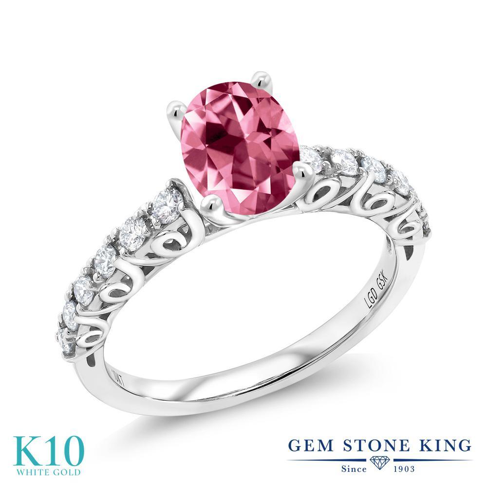 Gem Stone King 1.62カラット 天然石ピンクトパーズ(スワロフスキー 天然石シリーズ) 10金 ホワイトゴールド(K10) 指輪 リング レディース 大粒 一粒 マルチストーン 天然石 金属アレルギー対応 誕生日プレゼント
