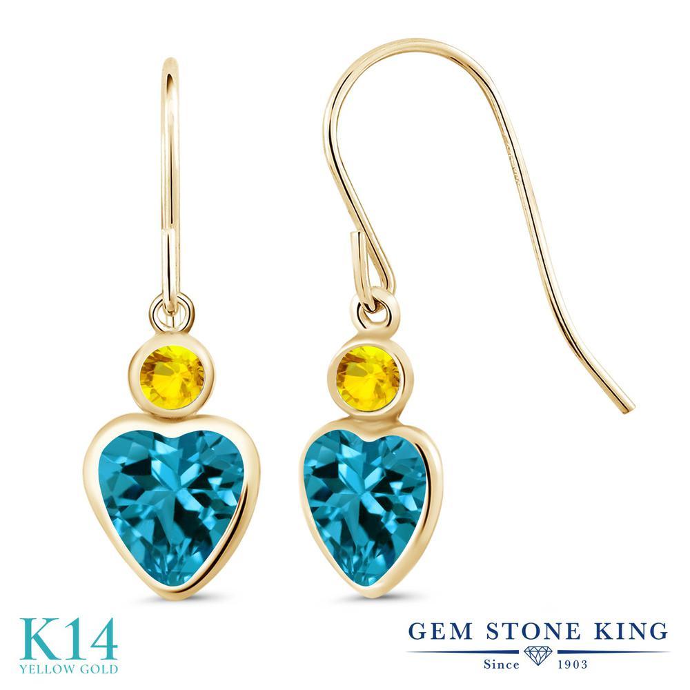 Gem Stone King 2.17カラット 天然 ロンドンブルートパーズ 天然 イエローサファイア 14金 イエローゴールド(K14) ピアス レディース ぶら下がり フレンチワイヤー 天然石 11月 誕生石 金属アレルギー対応 誕生日プレゼント