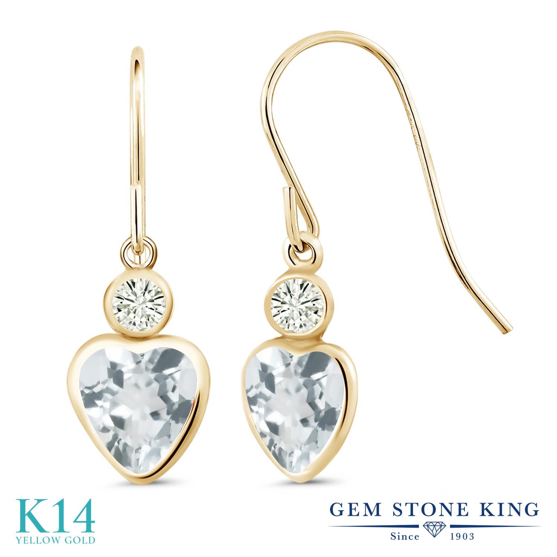Gem Stone King 1.54カラット 天然 アクアマリン モアサナイト Charles & Colvard 14金 イエローゴールド(K14) ピアス レディース ぶら下がり フレンチワイヤー 天然石 3月 誕生石 金属アレルギー対応 誕生日プレゼント