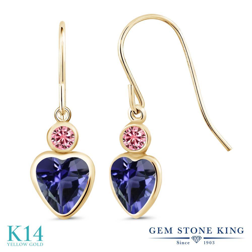 Gem Stone King 1.36カラット 天然 アイオライト (ブルー) モアッサナイト Charles & Colvard 14金 イエローゴールド(K14) ピアス レディース ぶら下がり フレンチワイヤー 天然石 金属アレルギー対応 誕生日プレゼント