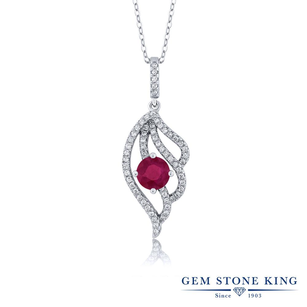 Gem Stone King 1.72カラット 天然 ルビー シルバー925 ネックレス ペンダント レディース 大粒 天然石 7月 誕生石 金属アレルギー対応 誕生日プレゼント