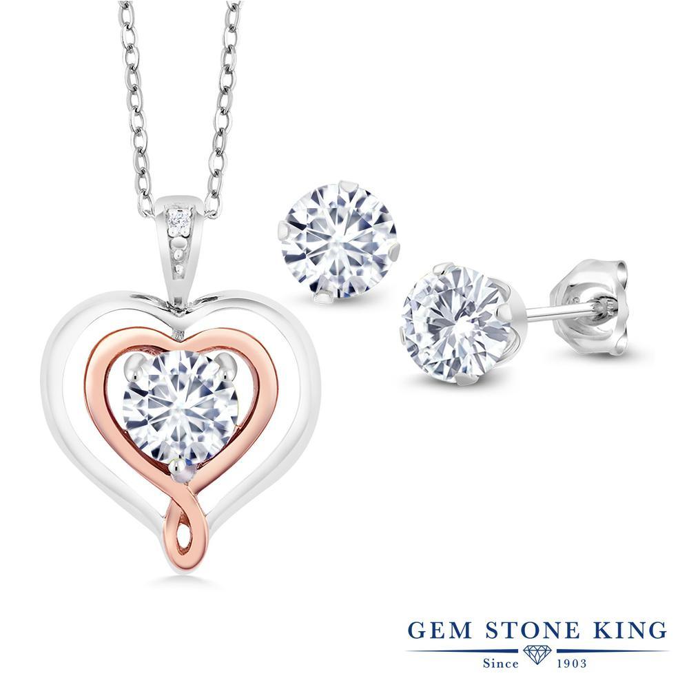 Gem Stone King 1.51カラット Forever Brilliant モアサナイト Charles & Colvard 天然 ダイヤモンド シルバー925 &10金 ピンクゴールド (K10) ペンダント&ピアスセット レディース モアッサナイト 小粒 金属アレルギー対応 誕生日プレゼント