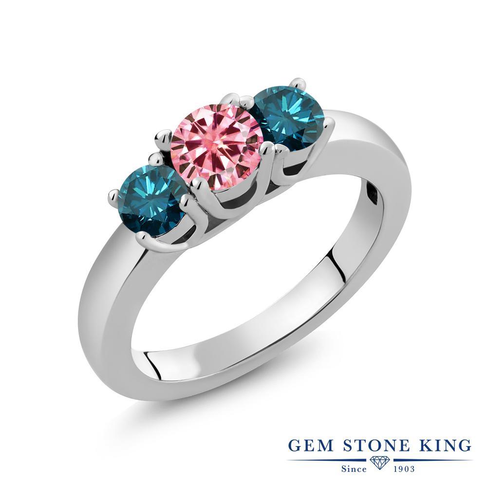 Gem Stone King 1.04カラット ピンク シルバー925 天然ブルーダイヤモンド 指輪 リング レディース モアサナイト 小粒 シンプル スリーストーン 金属アレルギー対応 誕生日プレゼント