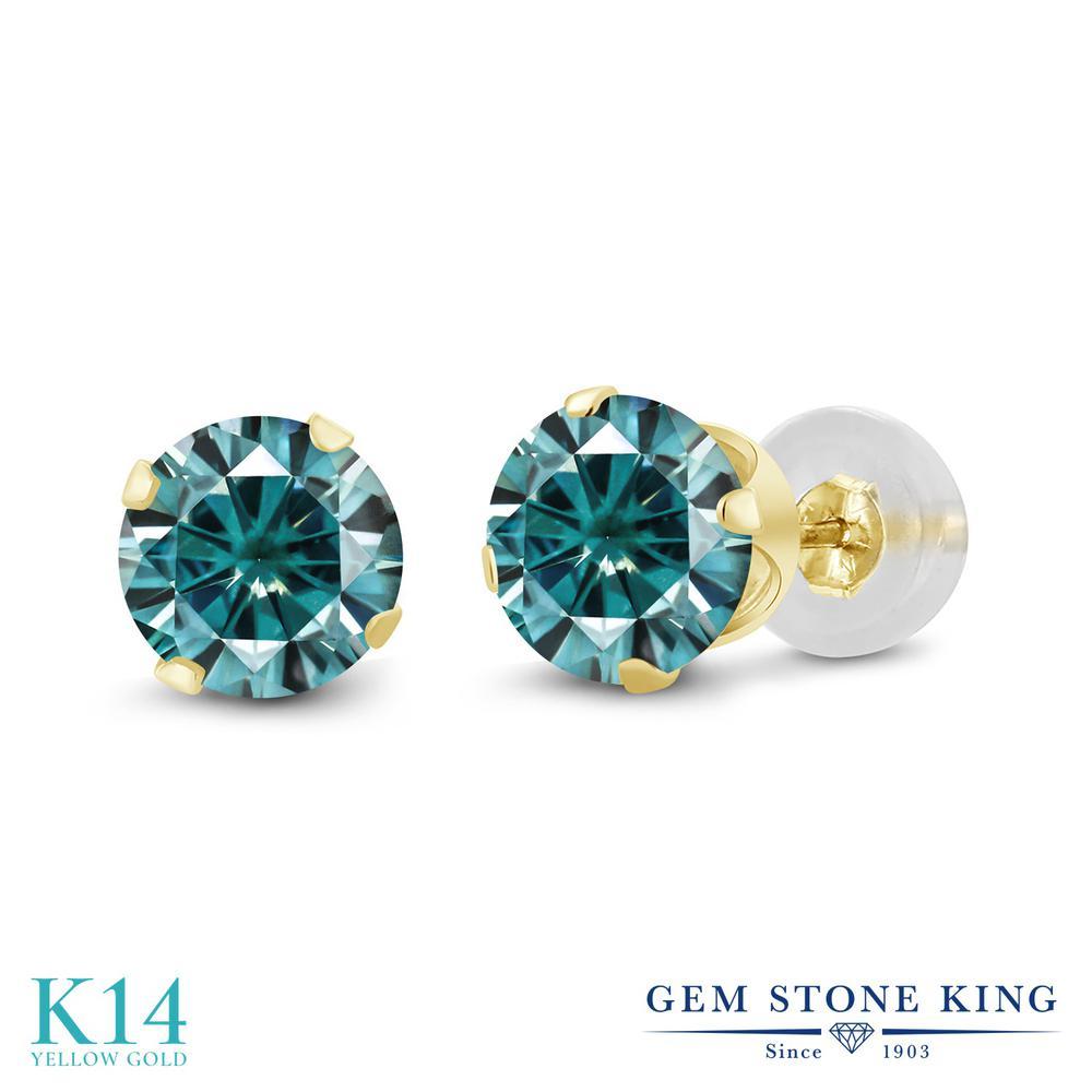 Gem Stone King 1カラット ブルー モアッサナイト Charles & Colvard 14金 イエローゴールド(K14) ピアス レディース モアサナイト 小粒 シンプル スタッド 金属アレルギー対応 誕生日プレゼント
