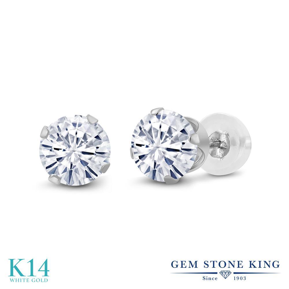 Gem Stone King 1カラット Forever Classic モアッサナイト Charles & Colvard 14金 ホワイトゴールド(K14) ピアス レディース モアサナイト 小粒 シンプル スタッド 金属アレルギー対応 誕生日プレゼント