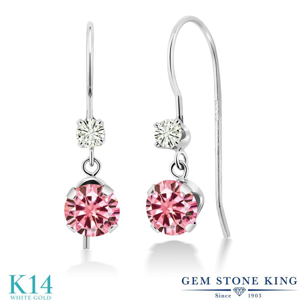 Gem Stone King 1.12カラット ピンク モアサナイト Charles & Colvard モアサナイト Charles & Colvard 14金 ホワイトゴールド(K14) ピアス レディース モアッサナイト 小粒 ぶら下がり アメリカン 揺れる 金属アレルギー対応 誕生日プレゼント