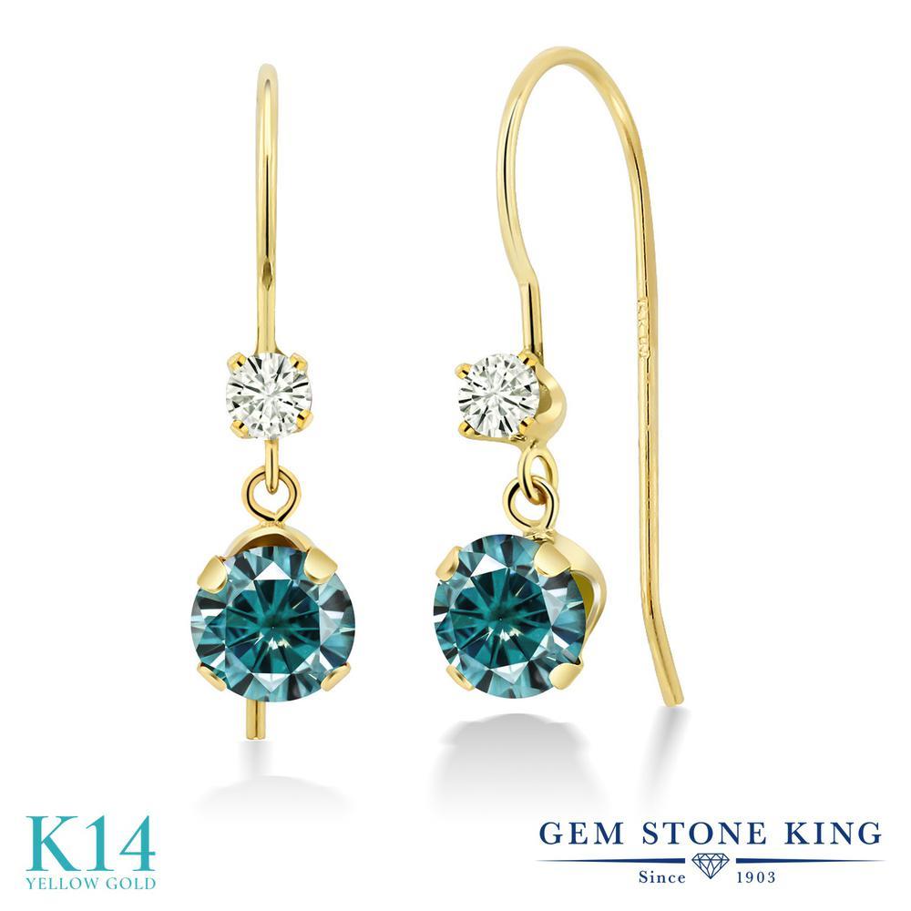 Gem Stone King 1.12カラット ブルー モアサナイト Charles & Colvard モアサナイト Charles & Colvard 14金 イエローゴールド(K14) ピアス レディース モアッサナイト 小粒 ぶら下がり アメリカン 揺れる 金属アレルギー対応 誕生日プレゼント
