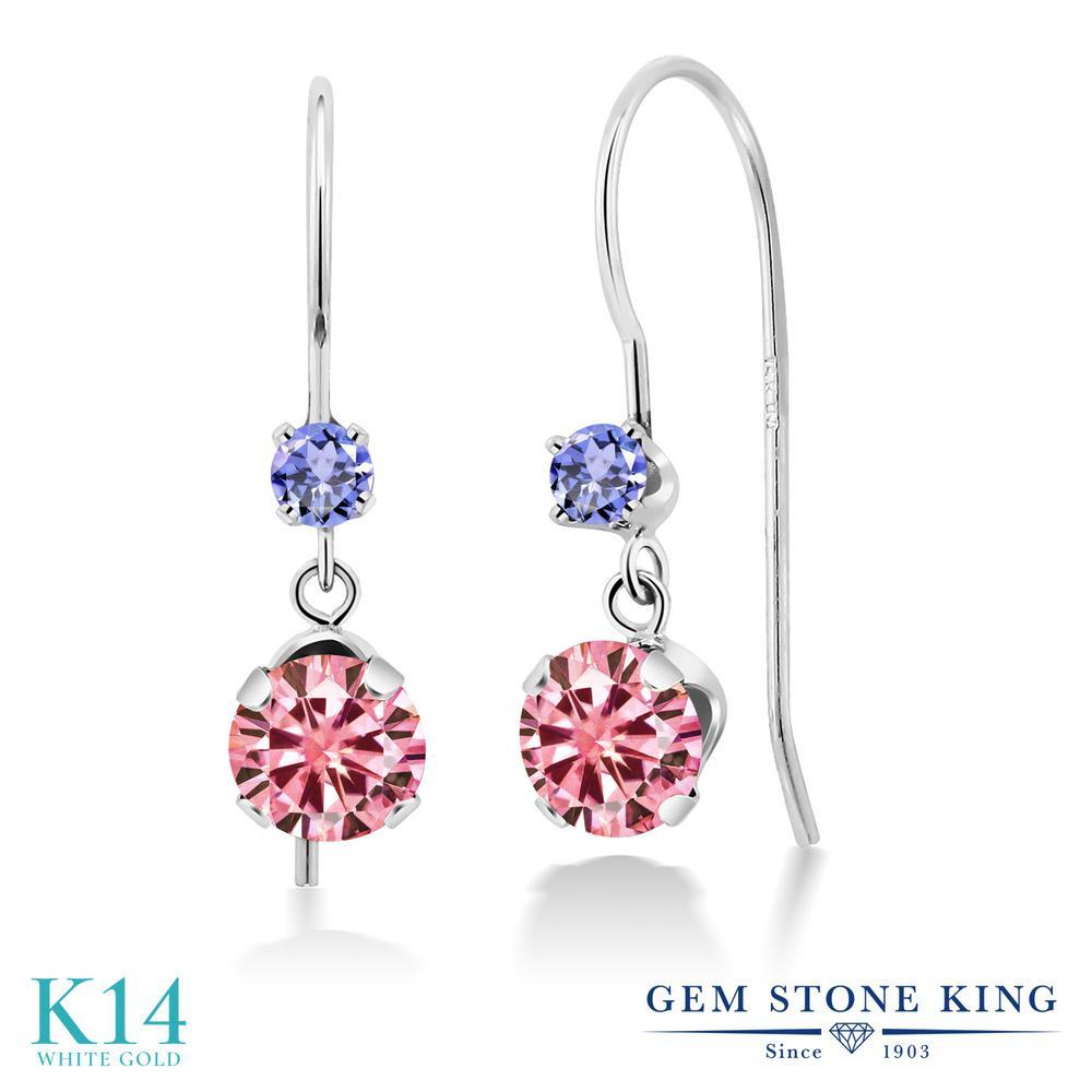 Gem Stone King 1.16カラット ピンク モアサナイト Charles & Colvard 天然石 タンザナイト 14金 ホワイトゴールド(K14) ピアス レディース モアッサナイト 小粒 ぶら下がり アメリカン 揺れる 金属アレルギー対応 誕生日プレゼント