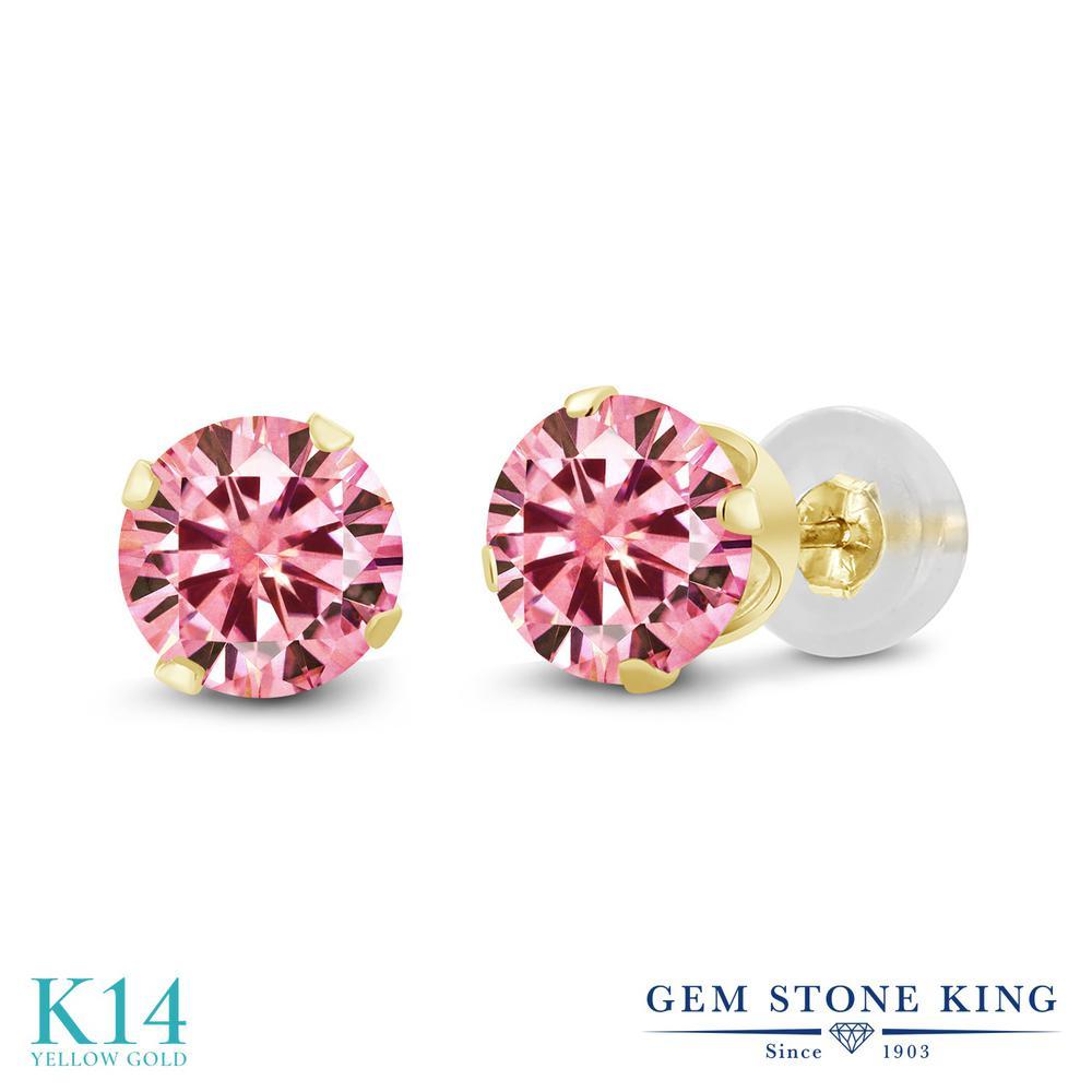Gem Stone King 1カラット ピンク モアッサナイト Charles & Colvard 14金 イエローゴールド(K14) ピアス レディース モアサナイト 小粒 シンプル スタッド 金属アレルギー対応 誕生日プレゼント