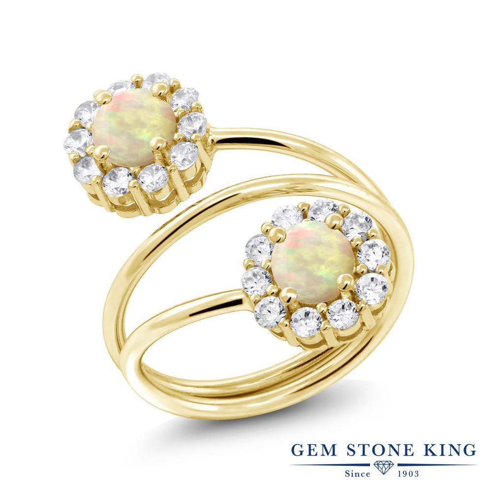 Gem Stone King 1.2カラット 天然エチオピアンオパール シルバー 925 イエローゴールドコーティング 指輪 リング レディース 小粒 ダブルストーン 天然石 金属アレルギー対応 誕生日プレゼント
