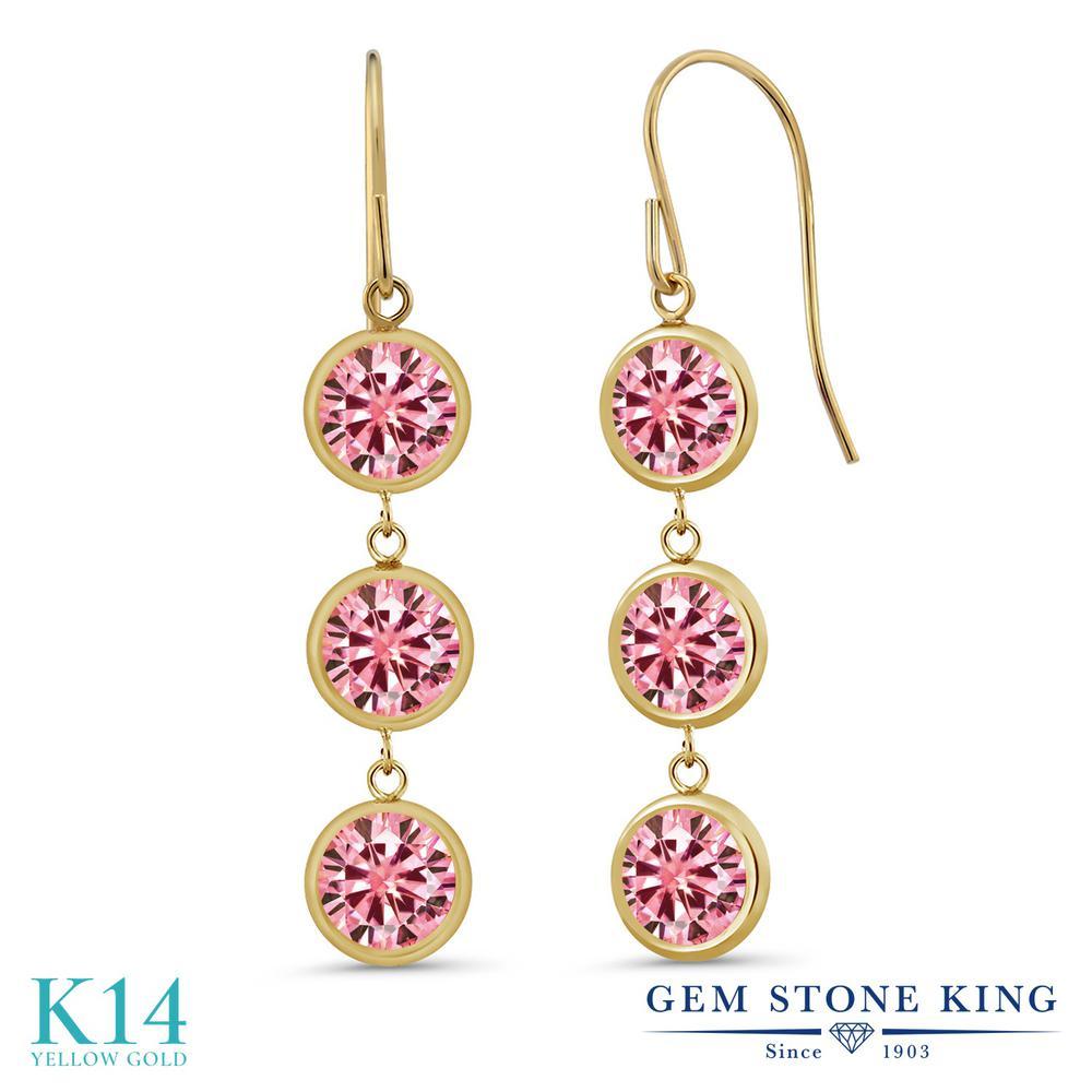 Gem Stone King 3カラット ピンク モアサナイト Charles & Colvard 14金 イエローゴールド(K14) ピアス レディース モアッサナイト 小粒 ぶら下がり アメリカン 揺れる 華奢 細身 金属アレルギー対応 誕生日プレゼント