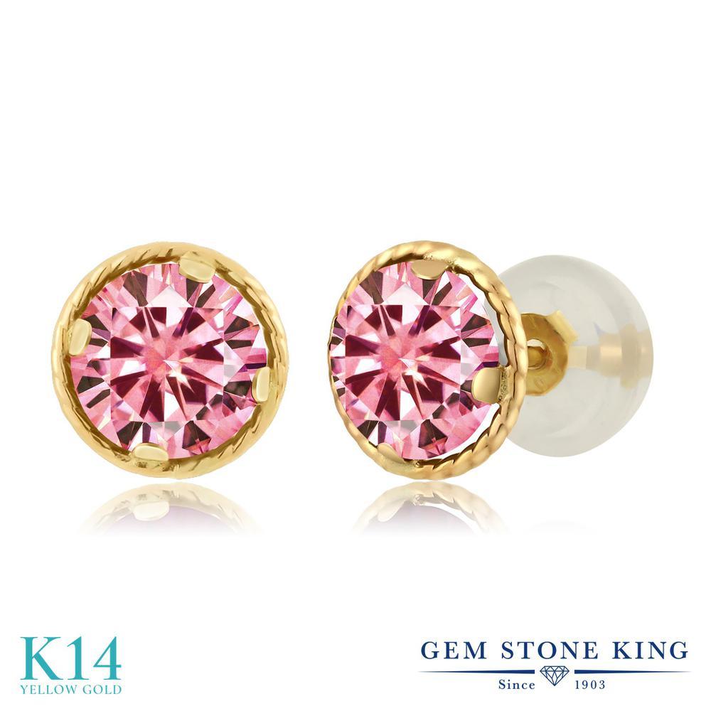 Gem Stone King 1.00カラット ピンク モアッサナイト Charles & Colvard 14金 イエローゴールド(K14) ピアス レディース モアサナイト 小粒 シンプル スタッド 金属アレルギー対応 誕生日プレゼント