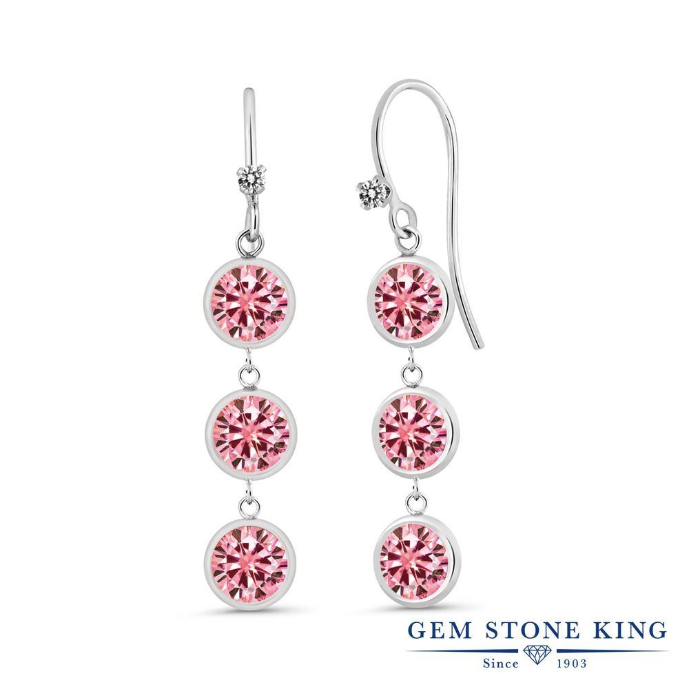 Gem Stone King 3.03カラット ピンク モアサナイト Charles & Colvard 天然 ダイヤモンド シルバー925 ピアス レディース モアッサナイト 小粒 ぶら下がり フレンチワイヤー 華奢 細身 金属アレルギー対応 誕生日プレゼント