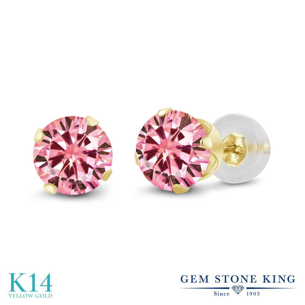 Gem Stone King 2カラット ピンク モアサナイト Charles & Colvard ピアス レディース 14金 イエローゴールド K14 モアッサナイト 大粒 シンプル スタッド 金属アレルギー対応