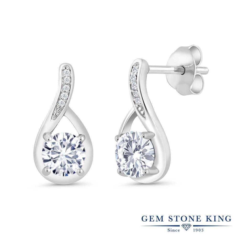 Gem Stone King 1.07カラット Forever Brilliant モアサナイト Charles & Colvard 天然 ダイヤモンド シルバー925 ピアス レディース モアッサナイト 小粒 ぶら下がり 金属アレルギー対応 誕生日プレゼント