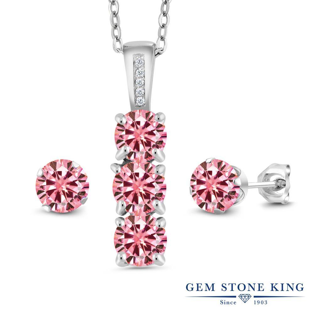Gem Stone King 2.54カラット ピンク モアサナイト Charles & Colvard 天然 ダイヤモンド シルバー925 ペンダント&ピアスセット レディース モアッサナイト 小粒 金属アレルギー対応 誕生日プレゼント