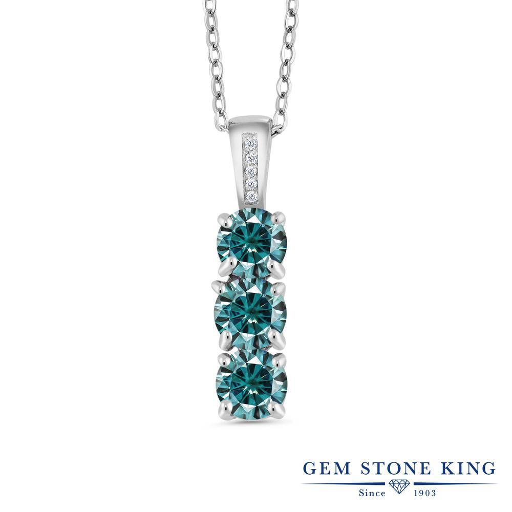 Gem Stone King 1.54カラット Vivid シルバー925 天然ダイヤモンド ネックレス ペンダント レディース 小粒 誕生日プレゼント