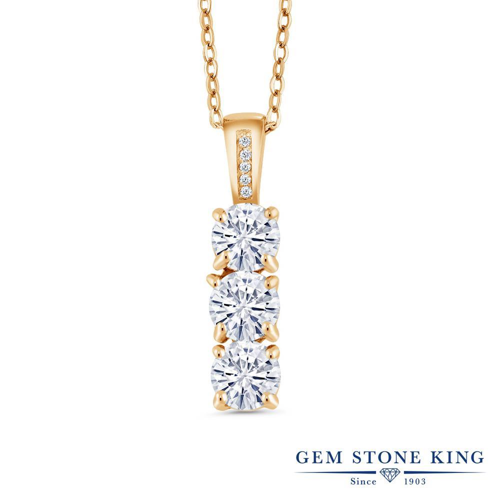 Gem Stone King 1.54カラット Forever Classic モアッサナイト Charles & Colvard シルバー 925 イエローゴールドコーティング 天然ダイヤモンド ネックレス ペンダント レディース 小粒 誕生日プレゼント