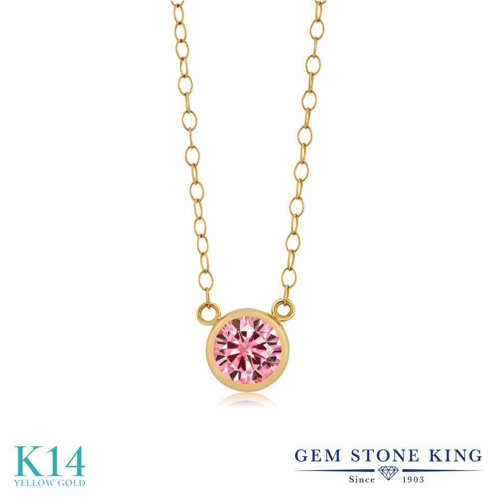 Gem Stone King 0.5カラット ピンク モアサナイト Charles & Colvard 14金 イエローゴールド(K14) ネックレス ペンダント レディース モアッサナイト 小粒 一粒 シンプル 金属アレルギー対応 誕生日プレゼント