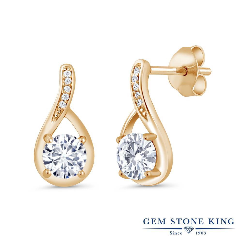 Gem Stone King 1.07カラット Forever Brilliant モアサナイト Charles & Colvard 天然 ダイヤモンド シルバー925 イエローゴールドコーティング ピアス レディース モアッサナイト 小粒 ぶら下がり 金属アレルギー対応 誕生日プレゼント