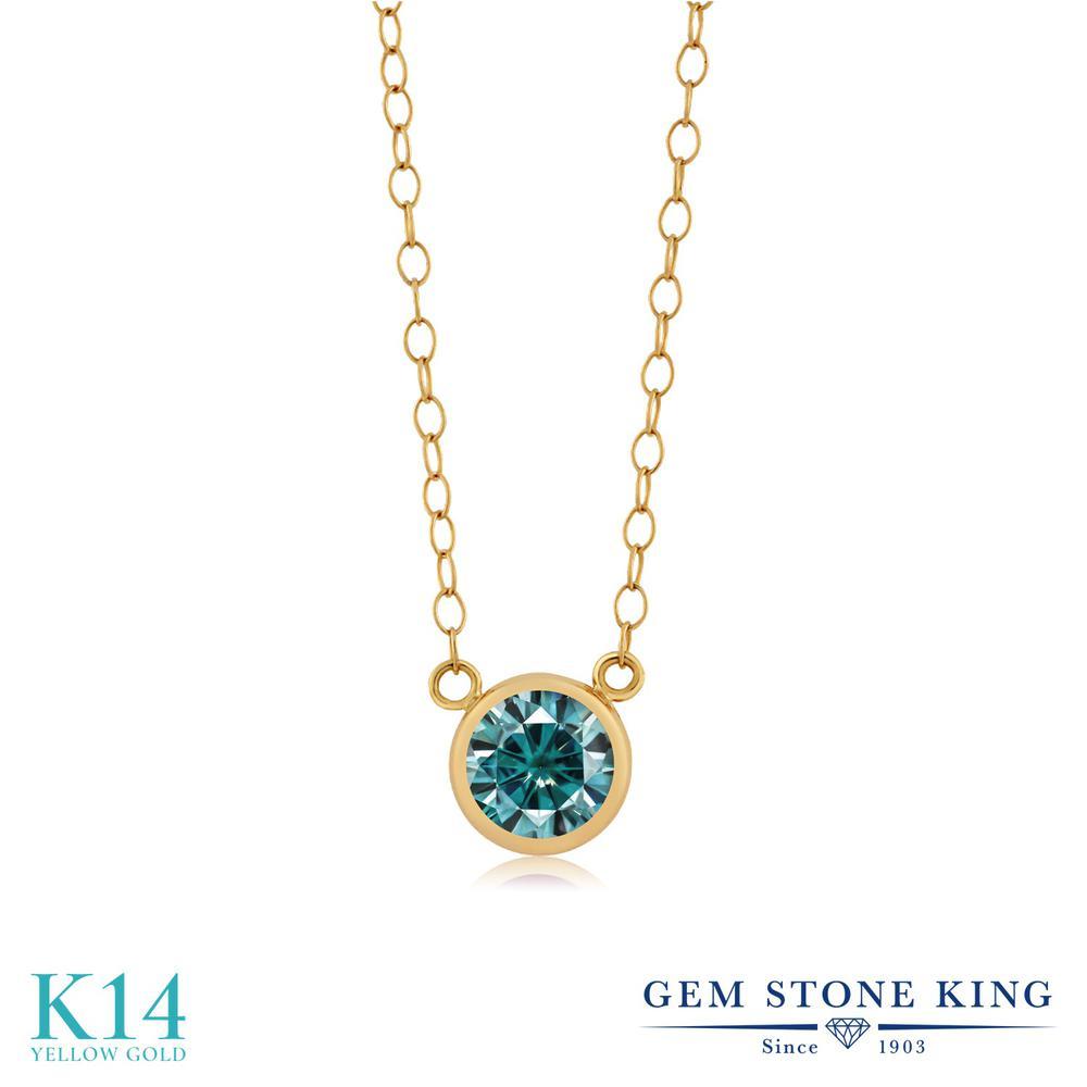 Gem Stone King 0.5カラット ブルー モアサナイト Charles & Colvard 14金 イエローゴールド(K14) ネックレス ペンダント レディース モアッサナイト 小粒 一粒 シンプル 金属アレルギー対応 誕生日プレゼント