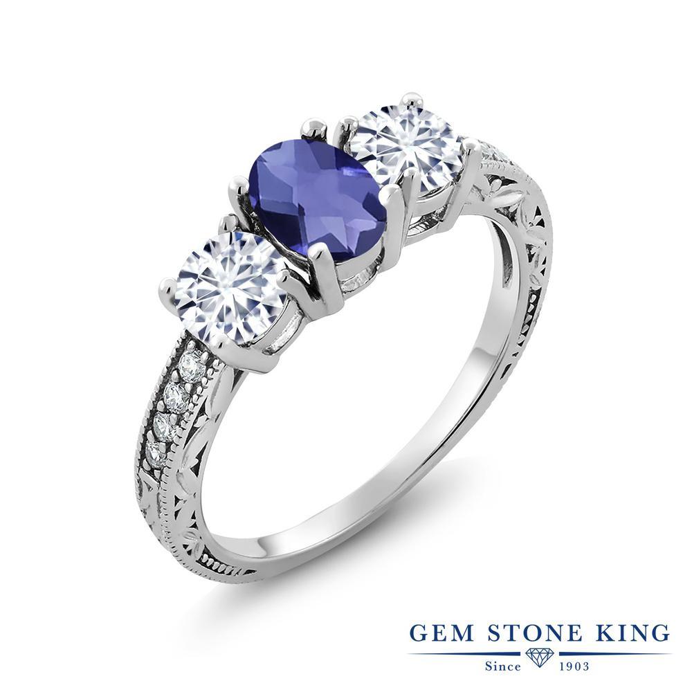 【クーポンで10%OFF】 Gem Stone King 1.77カラット 天然 アイオライト (ブルー) モアッサナイト Charles & Colvard シルバー925 指輪 リング レディース スリーストーン 天然石 金属アレルギー対応 誕生日プレゼント