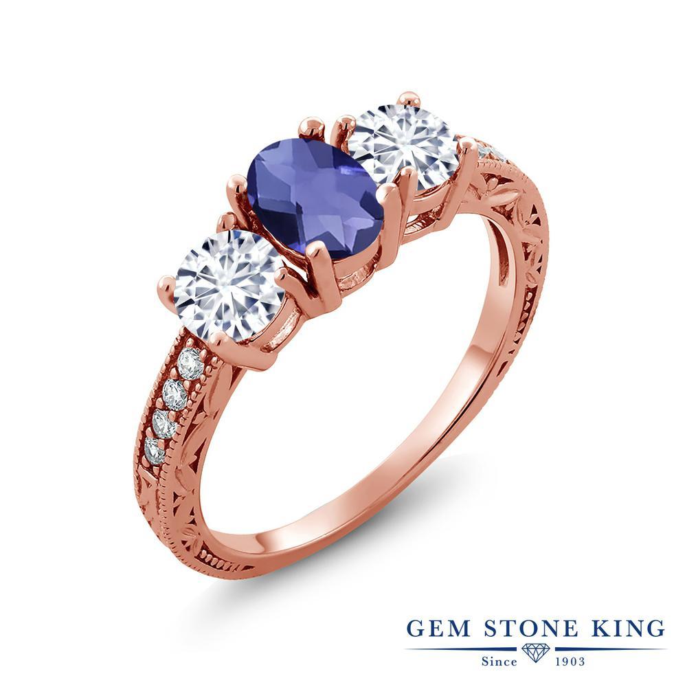 【クーポンで10%OFF】 Gem Stone King 1.77カラット 天然 アイオライト (ブルー) モアッサナイト Charles & Colvard シルバー925 ピンクゴールドコーティング 指輪 リング レディース スリーストーン 天然石 金属アレルギー対応 誕生日プレゼント