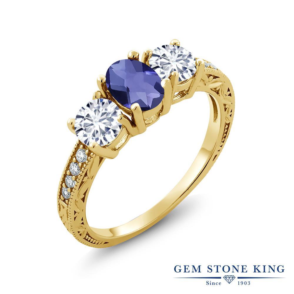 【クーポンで10%OFF】 Gem Stone King 1.77カラット 天然 アイオライト (ブルー) モアッサナイト Charles & Colvard シルバー925 イエローゴールドコーティング 指輪 リング レディース スリーストーン 天然石 金属アレルギー対応 誕生日プレゼント