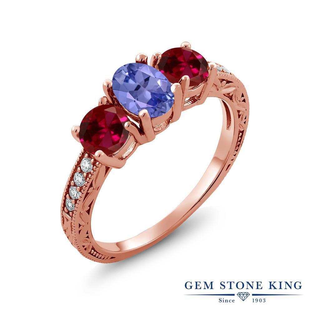 Gem Stone King 2.87カラット 天然石 タンザナイト 合成ルビー 指輪 リング レディース シルバー925 ピンクゴールド 加工 スリーストーン 12月 誕生石 金属アレルギー対応