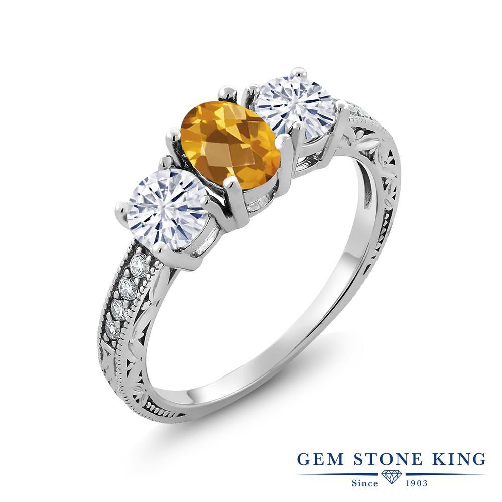 Gem Stone King 1.85カラット 天然 シトリン モアサナイト Charles & Colvard 指輪 リング レディース シルバー925 スリーストーン 天然石 11月 誕生石 金属アレルギー対応