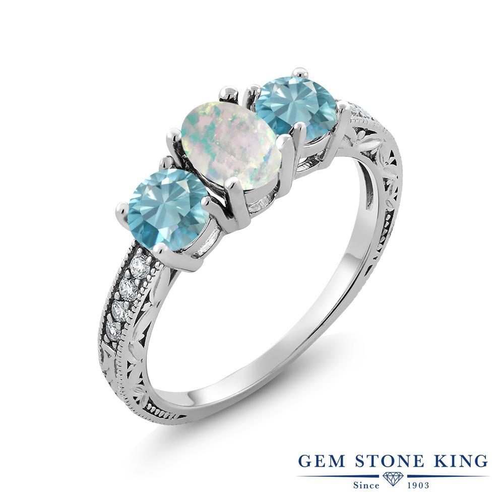 Gem Stone King 2.82カラット シミュレイテッドホワイトオパール 天然石 ジルコン(ブルー) シルバー925 指輪 リング レディース 大粒 スリーストーン 誕生石 金属アレルギー対応 誕生日プレゼント