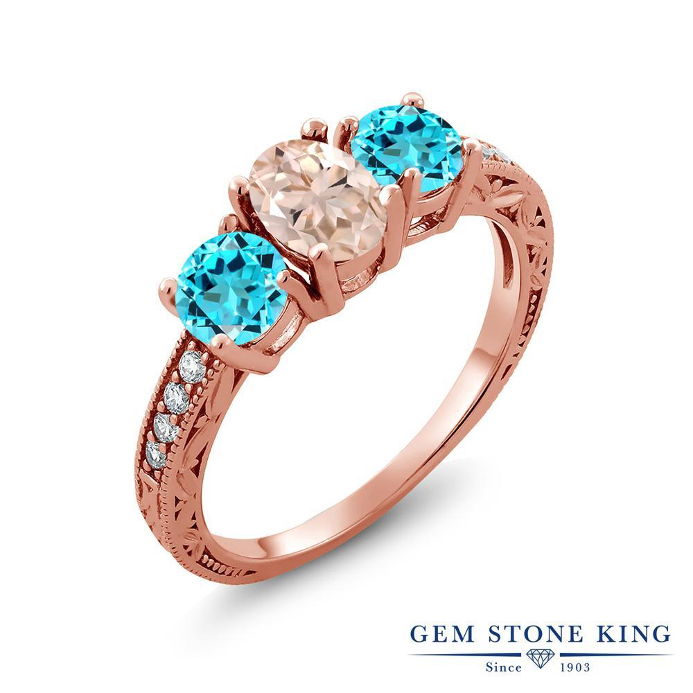 Gem Stone King 1.87カラット 天然 モルガナイト (ピーチ) スイスブルートパーズ 指輪 リング レディース シルバー925 ピンクゴールド 加工 スリーストーン 天然石 3月 誕生石 金属アレルギー対応