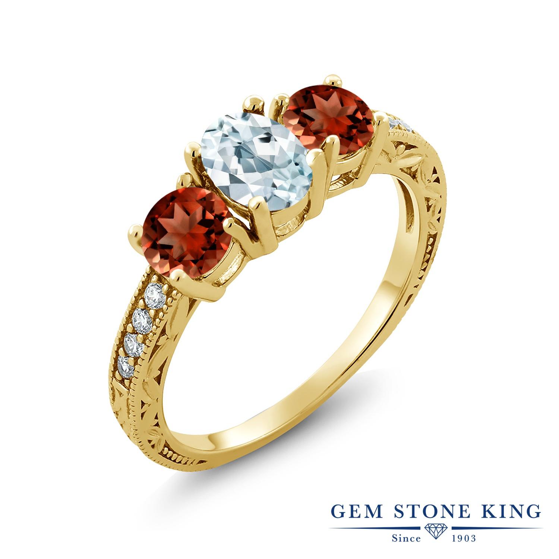 Gem Stone King 2.87カラット 天然 アクアマリン ガーネット 指輪 リング レディース シルバー925 イエローゴールド 加工 スリーストーン 天然石 3月 誕生石 金属アレルギー対応