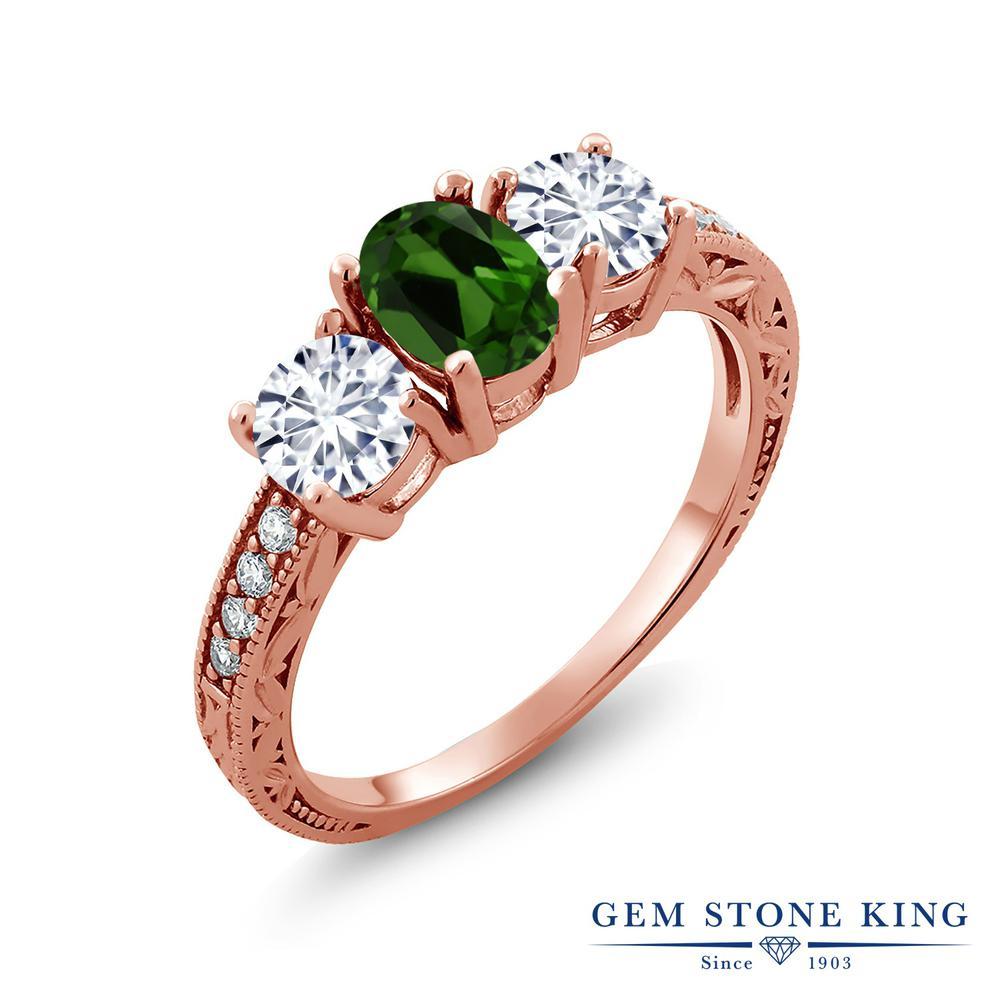 【クーポンで10%OFF】 Gem Stone King 1.92カラット 天然 クロムダイオプサイド モアッサナイト Charles & Colvard シルバー925 ピンクゴールドコーティング 指輪 リング レディース スリーストーン 天然石 金属アレルギー対応 誕生日プレゼント