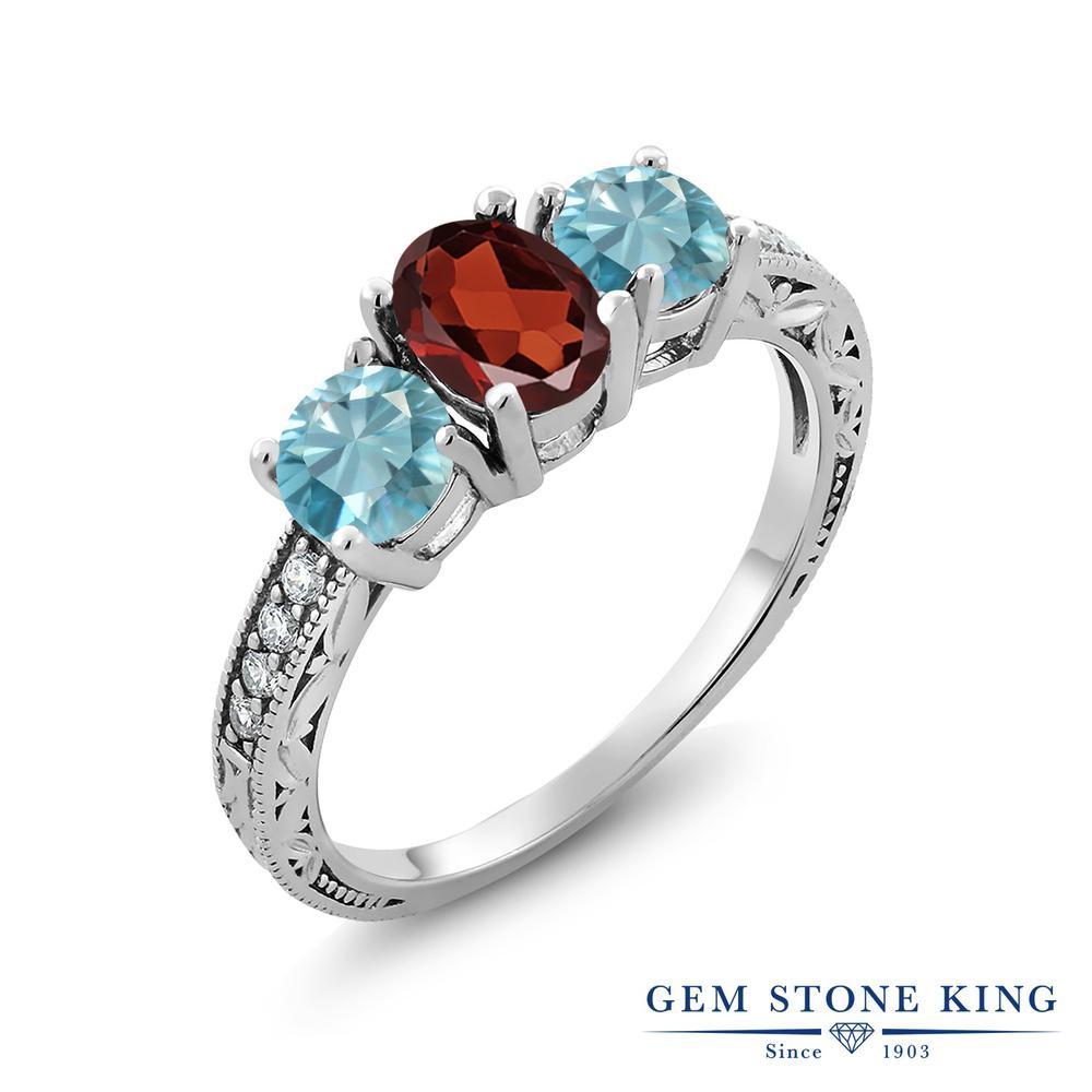 Gem Stone King 2.81カラット 天然ガーネット 天然石 ジルコン(ブルー) シルバー925 指輪 リング レディース スリーストーン 天然石 誕生石 金属アレルギー対応 誕生日プレゼント