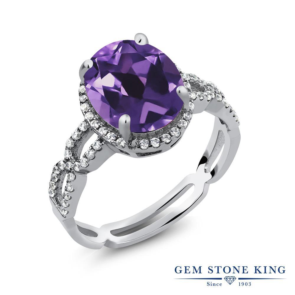 Gem Stone King 3.05カラット 天然アメジスト 合成ホワイトサファイア(ダイヤのような無色透明) シルバー925 指輪 リング レディース 大粒 大ぶり カクテル 天然石 誕生石 金属アレルギー対応 誕生日プレゼント