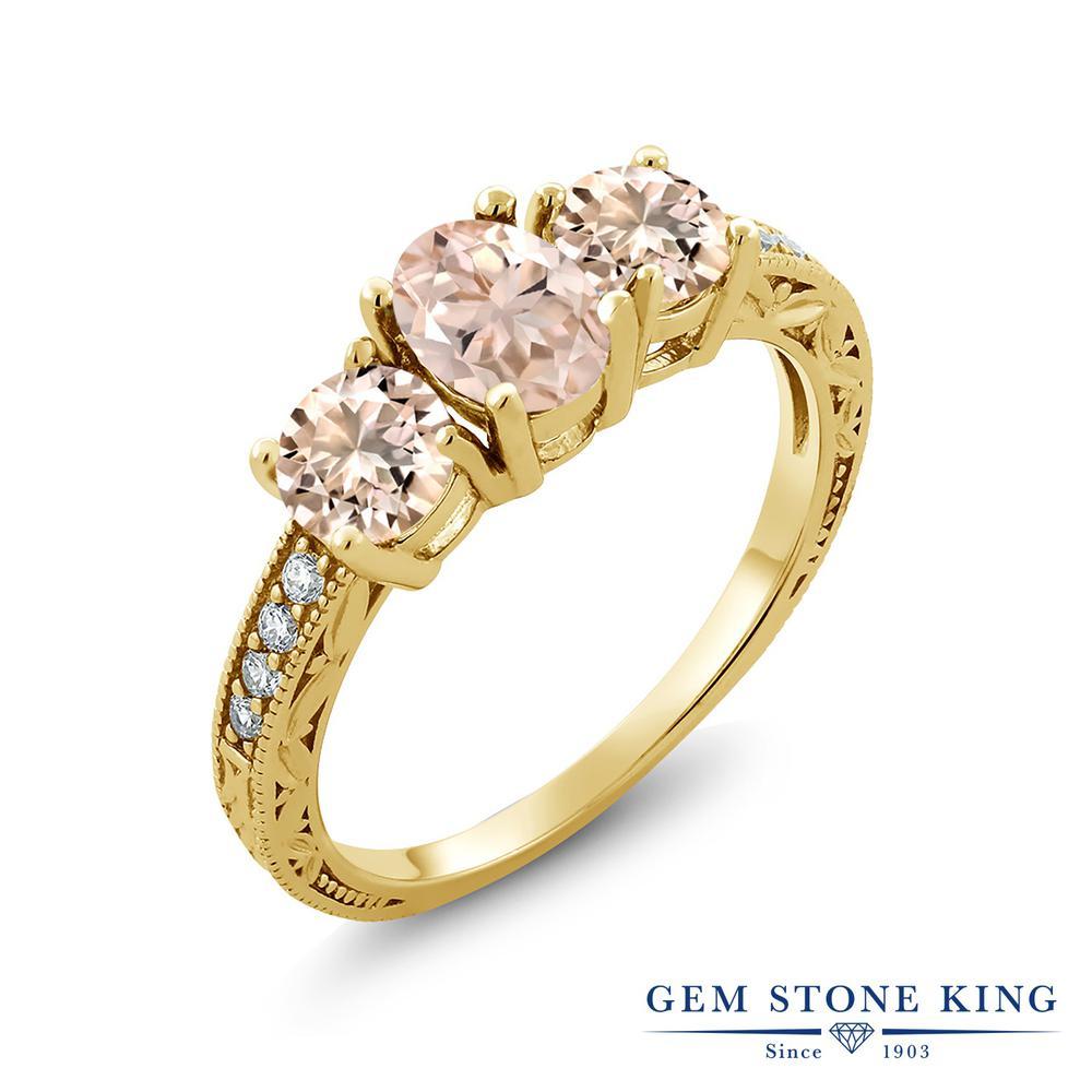 Gem Stone King 1.57カラット 天然 モルガナイト (ピーチ) シルバー925 イエローゴールドコーティング 指輪 リング レディース スリーストーン 天然石 3月 誕生石 金属アレルギー対応 誕生日プレゼント