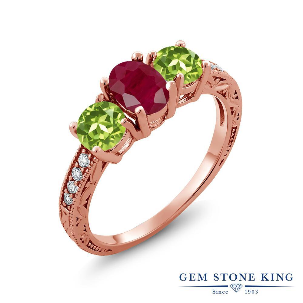 Gem Stone King 2.27カラット 天然 ルビー 天然石 ペリドット シルバー925 ピンクゴールドコーティング 指輪 リング レディース 大粒 スリーストーン 天然石 7月 誕生石 金属アレルギー対応 誕生日プレゼント