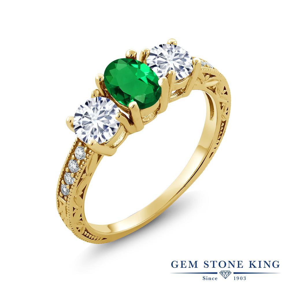 【クーポンで10%OFF】 Gem Stone King 1.72カラット ナノエメラルド モアッサナイト Charles & Colvard シルバー925 イエローゴールドコーティング 指輪 リング レディース スリーストーン 金属アレルギー対応 誕生日プレゼント